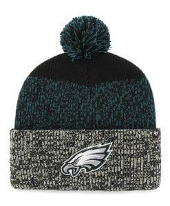Philadelphia Eagles 47 Brand Black Static Cuff Knit Hat