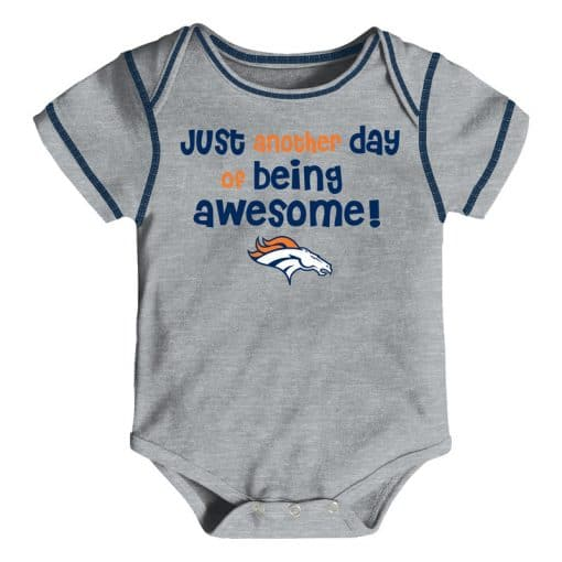 Denver Broncos Baby Being Awesome Gray Onesie Creeper
