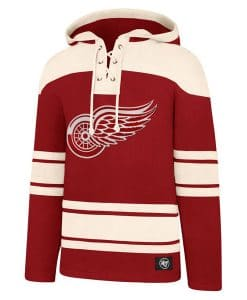 Detroit Red Wings Men's 47 Brand Red Vintage Pullover Jersey Hoodie