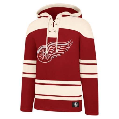 Detroit Red Wings Men's 47 Brand Red Vintage Pullover Jersey Hoodie