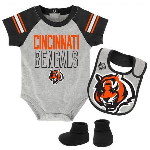Cincinnati Bengals Baby Gray Onesie Creeper Bib & Bootie Set