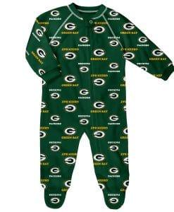 Green Bay Packers Baby Green Raglan Zip Up Sleeper Coverall