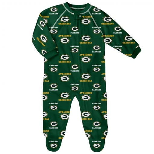 Green Bay Packers Baby Green Raglan Zip Up Sleeper Coverall