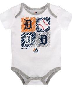 Detroit Tigers Baby White Baseball Onesie Creeper