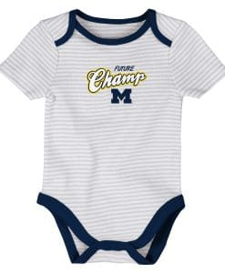 Michigan Wolverines Baby 3 MONTHS Striped White Gray Onesie Creeper