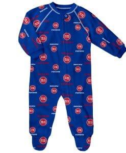 Detroit Pistons Baby Blue Raglan Zip Up Sleeper Coverall