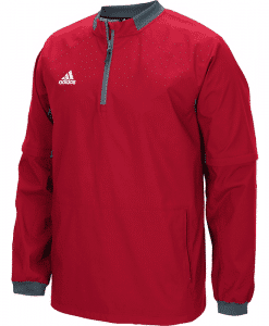 Men's Adidas Red Fielder's Choice 1/4 Zip Long Sleeve Pullover