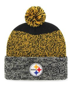 Pittsburgh Steelers 47 Brand Static Black Cuff Knit Hat