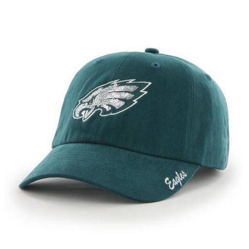 Philadelphia Eagles 47 Brand Women's Sparkle Pacific Green Clean Up Hat