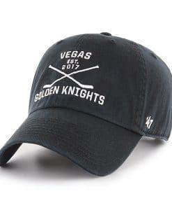 Vegas Golden Knights 47 Brand Black Cross Sticks Adjustable Hat