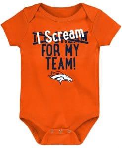 Denver Broncos Baby Orange Team Scream Onesie Creeper