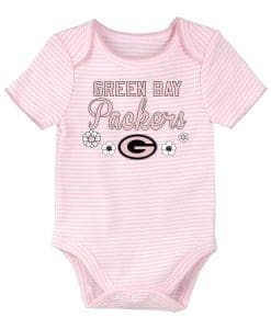 Green Bay Packers Pink Striped Onesie Creeper
