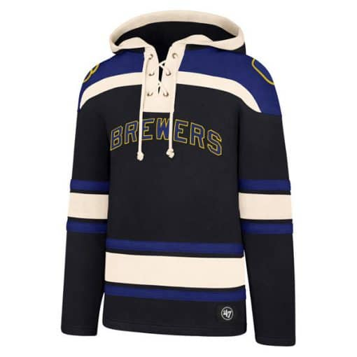 Milwaukee Brewers Men's 47 Brand Navy Pullover Jersey Hoodie