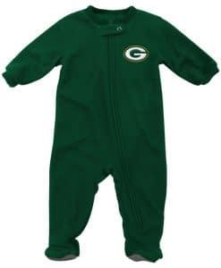 Green Bay Packers Baby Green Raglan Zip Up Blanket Sleeper Coverall