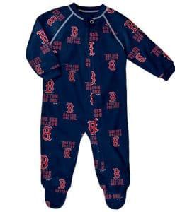 Boston Red Sox Baby Navy Raglan Zip Up Sleeper Coverall