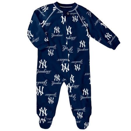 New York Yankees Baby Navy Raglan Zip Up Sleeper Coverall