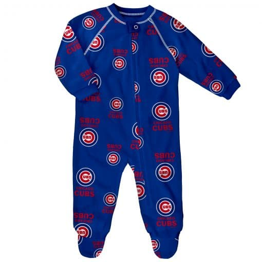 Chicago Cubs Baby Blue Raglan Zip Up Sleeper Coverall