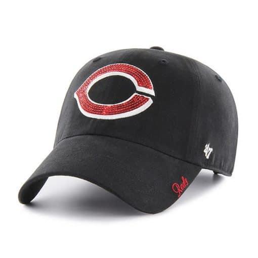 Cincinnati Reds Women's 47 Brand Sparkle Black Clean Up Adjustable Hat