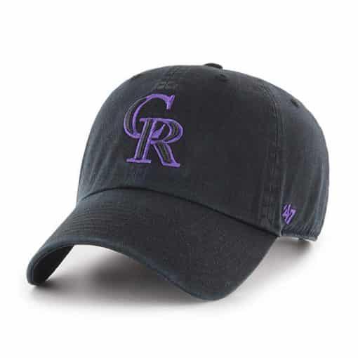 Colorado Rockies 47 Brand Black Clean Up Adjustable Hat