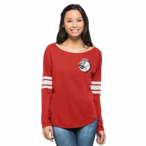 Cincinnati Reds Women's 47 Brand Red Pullover Long Sleeve Shirt