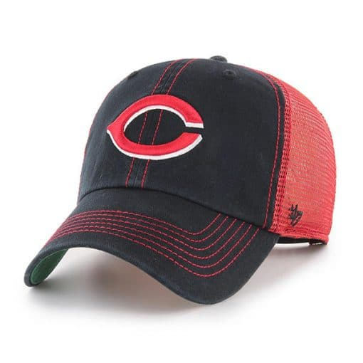Cincinnati Reds 47 Brand Red Black Trawler Clean Up Adjustable Hat