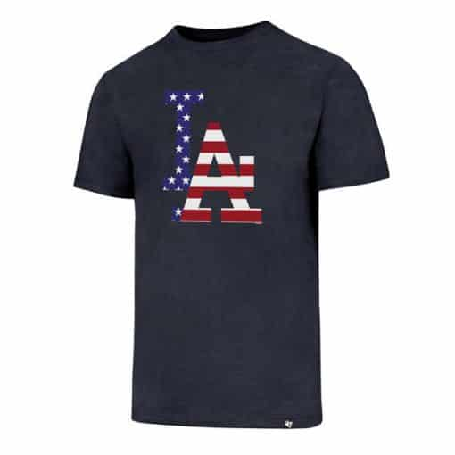 Los Angeles Dodgers Men's 47 Brand Red White & Blue Club T-Shirt Tee