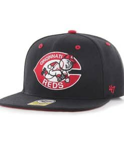 Cincinnati Reds YOUTH 47 Brand Black Cooperstown Captain Hat