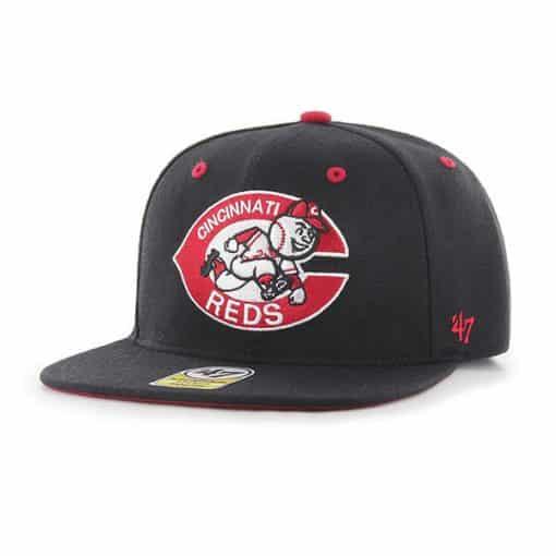 Cincinnati Reds YOUTH 47 Brand Black Cooperstown Captain Hat