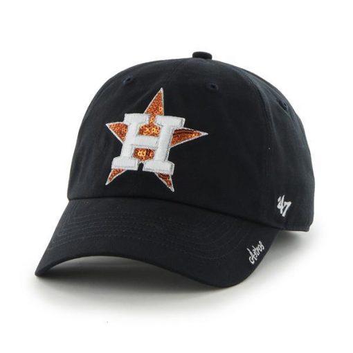 Houston Astros Women's 47 Brand Sparkle Navy Team Color Clean Up Hat