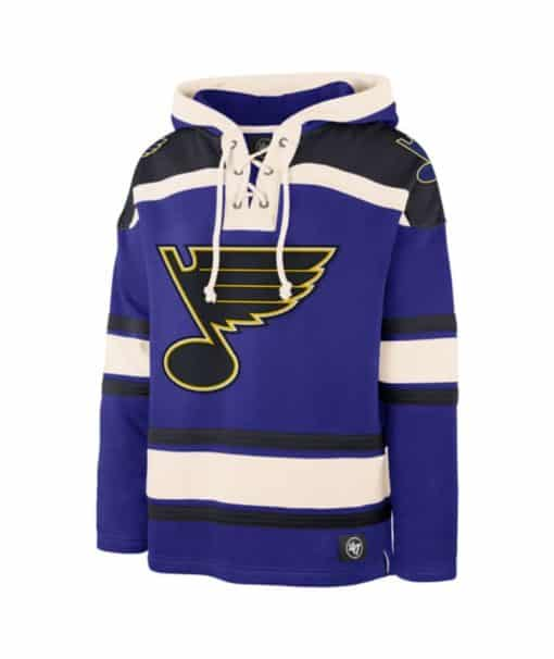 St. Louis Blues Men's 47 Brand Blue Pullover Jersey Hoodie