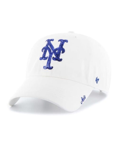 New York Mets Women's 47 Brand Sparkle White Clean Up Adjustable Hat