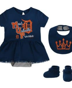 Detroit Tigers Baby Girl Navy MVP Princess 3-Piece Creeper