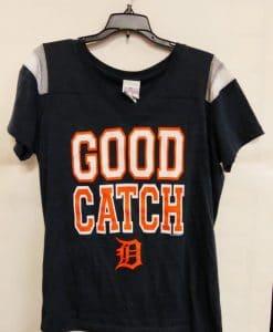 Detroit Tigers Women's Navy Good Catch T-Shirt Tee