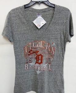 Detroit Tigers Women's Majestic Gray Shiny Orange Logo T-Shirt Tee