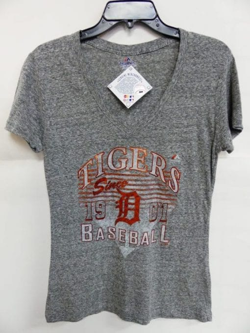 Detroit Tigers Women's Majestic Gray Shiny Orange Logo T-Shirt Tee