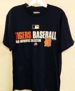 Detroit Tigers Majestic Navy MLB Orange D T-Shirt Tee