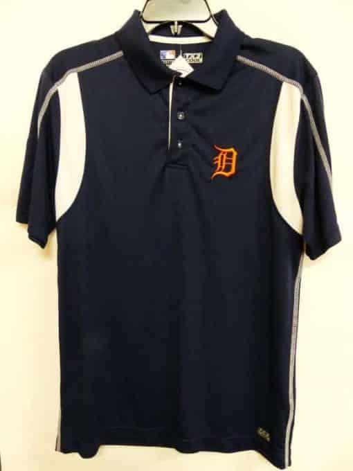 Detroit Tigers Majestic Navy Orange Logo Dri-Fit Polo Shirt