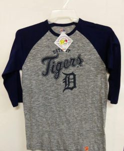 Detroit Tigers Majestic Gray Navy 3/4 Sleeve T-Shirt Tee