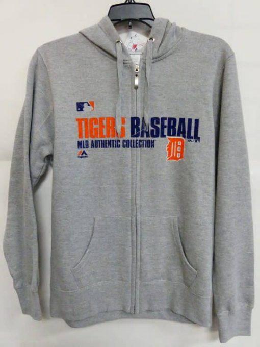 Detroit Tigers Gray Orange Logo Full Zip Up Hoodie