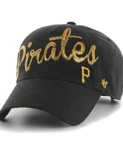 Pittsburgh Pirates Women's 47 Brand Sparkle Script Black Clean Up Adjustable Hat