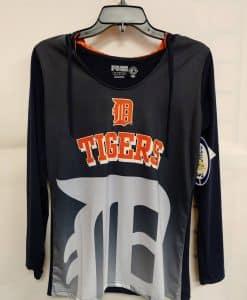 Detroit Tigers Women's Navy Hooded Long Sleeve Logo Tee