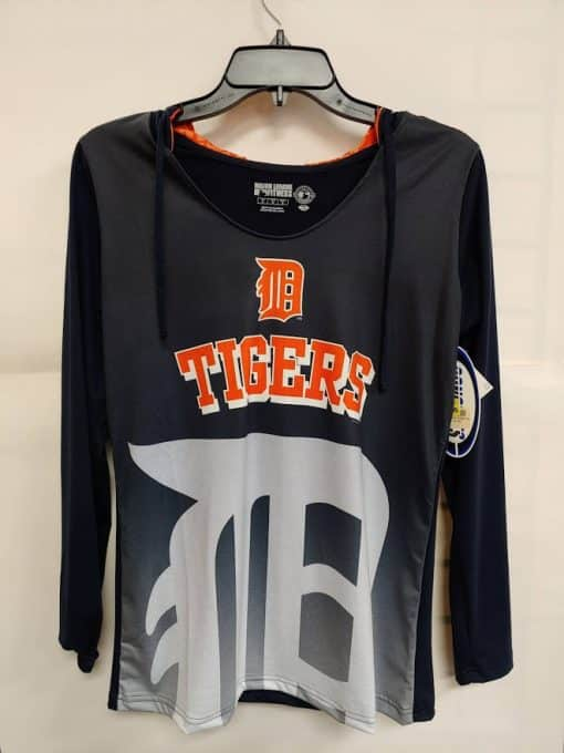 Detroit Tigers Women's Navy Hooded Long Sleeve Logo Tee