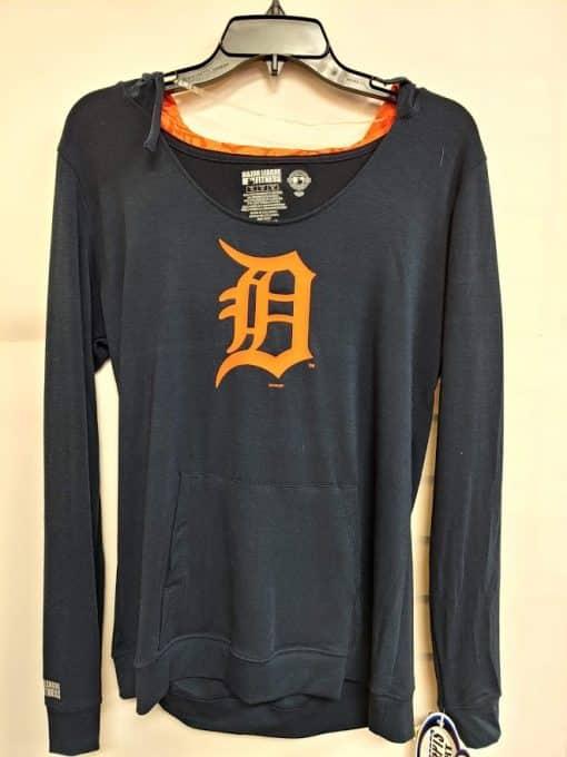 Detroit Tigers Women's Navy Orange Logo Hooded Long Sleeve Tee