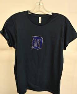 Detroit Tigers Women's Navy Bling Logo Tee