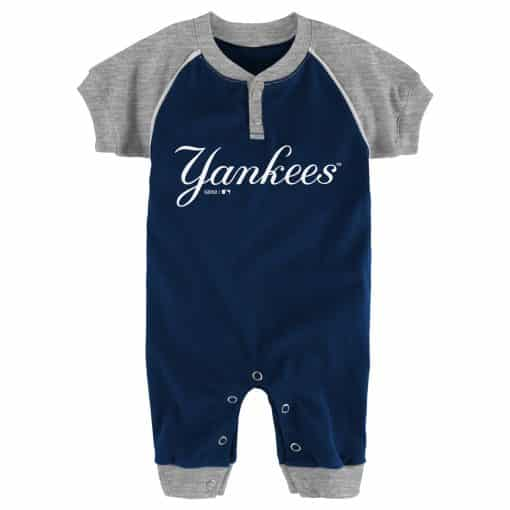 New York Yankees Baby Navy Button Up Romper Coverall