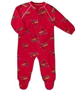 St. Louis Cardinals Baby Red Raglan Zip Up Sleeper Coverall
