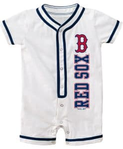 Boston Red Sox Baby White Button Up Romper Coverall