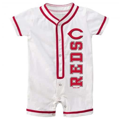 Cincinnati Reds Baby White Button Up Romper Coverall