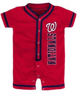 Washington Nationals Baby Game Ready Red Button Up Romper Coverall