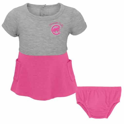 Chicago Cubs Baby Girl Gray Pink 2-Piece Dress & Bloomer